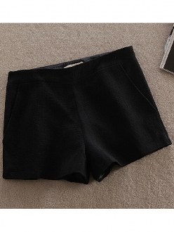 Solid color black high waisted right zip shorts