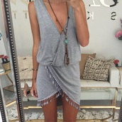 shirt,dress,grey . pasion,amazing spring clothe,fringes,grey,grey dress,festival,boho dress,deep vneck,short,summer,summer dress,boho,hippie,cotton,triangle neckline,sportswear,boho chic,fringed dress,fringe he,fringe hem dress,fringe boho dress,sabo skirt,tassel,vneck dress,wrap dress,❤️,coachella,romper,low cut,bohemian,black dress,franges,mini dress,grey mini skirt,short dress,heather grey,fashion,style,tan,freevibrationz,mini wrap dress