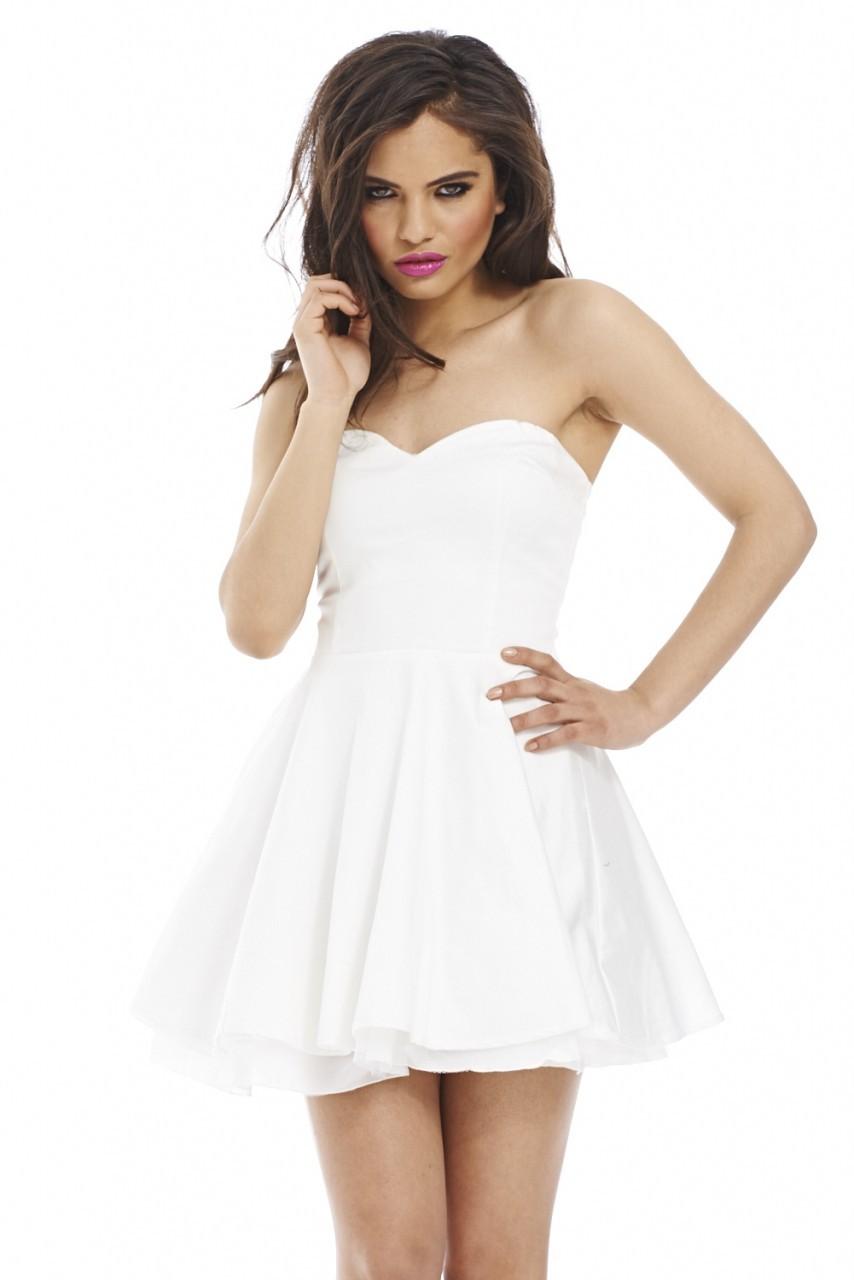 Cream Strapless Flared Skater Dress