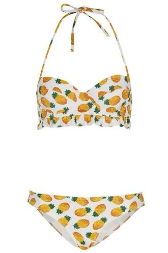 swimwear pineapple pineapple swimsuit pineappel pineapple print bikini bikini bottoms bikini top topshop