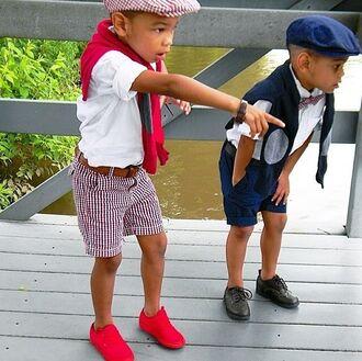 guys toddler kids fashion swag plaid shorts cardigan bowtie hat