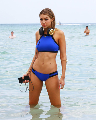 swimwear gigi hadid celebrity model swimwear two piece blue swimwear headphones blue bikini