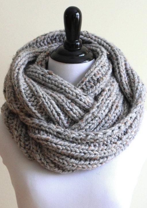 Knit infinity scarf ribbed gray tweed scarf by winterwhiteknits