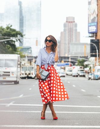 lovely pepa blogger skirt shoes shirt bag sunglasses jewels blue white red outfit midi skirt checkered blue shirt blue bag valentino valentino bag high heel pumps pumps red pumps black sunglasses spring outfits