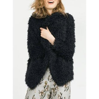 coat fluffy fuzzy coat black coat warm fall outfits winter outfits faux fur faux fur jacket