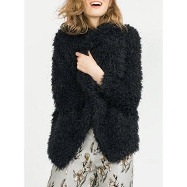 Coat: fluffy, fuzzy coat, black coat, warm, fall outfits, winter ...