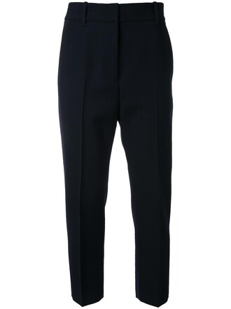 women blue wool pants