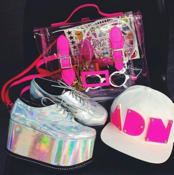 hat white snapback shoes silver rainbow cap pink sunglasses headphones silver shoes pink strap pink snapback white snapback bag transparent  bag platform shoes silver platforms strapless hot pink dress cross body bag