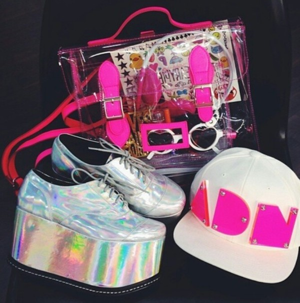 shoes silver rainbow white snapback hat cap pink sunglasses headphones silver shoes pink strap pink cap white snapback bag transparent  bag platform shoes silver platforms crossbody bag