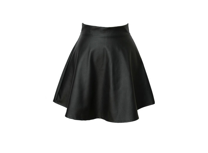 Wholesale Vintage Zipper Up Flouncing Solid Color PU Leather Skirt For Women (BLACK,L), Skirts - Rosewholesale.com