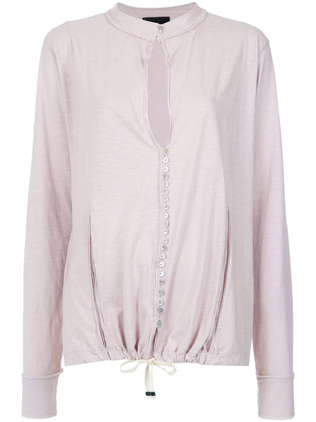 Andrea Bogosian blouse women drawstring cotton purple pink top