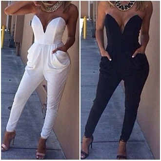 jumpsuit lost souls strapless jumpsuit strapless black jumpsuit white jumpsuit sexy jumpsuits white sexy jumpsuit black sexy jumpsuit v neck autumn outfit winter outfits