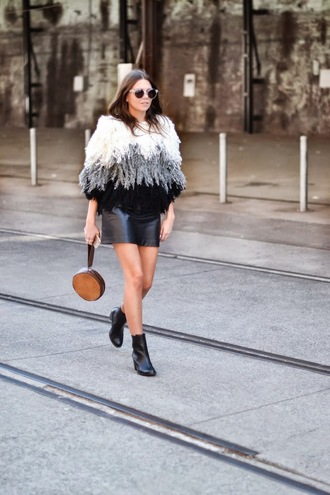 spin dizzy fall blogger fluffy leather skirt fuzzy sweater black boots spring outfits