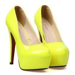 Neon yellow pumps from kesha's boutique on storenvy