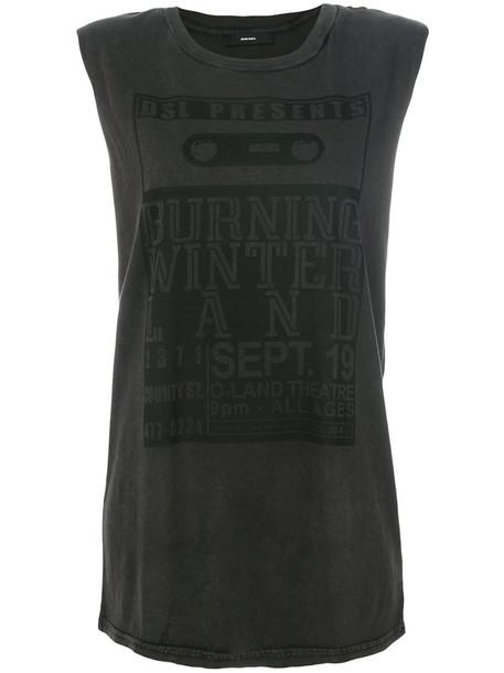 Diesel - long printed tank - women - Cotton - XXS, Grey, Cotton