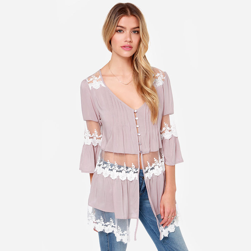 Aliexpress.com : Buy 2014ZA NEW Embroidery Gauze Lace Details Cut Out Patchwork Three Quarter Sleeve V neck Light Purple Chiffon Long Blouse Shirt from Reliable blouses summer suppliers on Vogue Official Online Shop.