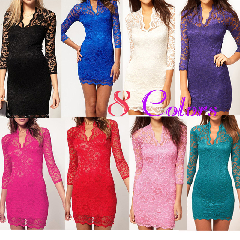 Ladies' Sexy  Flower Scalloped Neck Middle 3/4 Sleeve Women's party evening elegant Mini Lace Dress for women , Free Shipping-in Dresses from Apparel & Accessories on Aliexpress.com