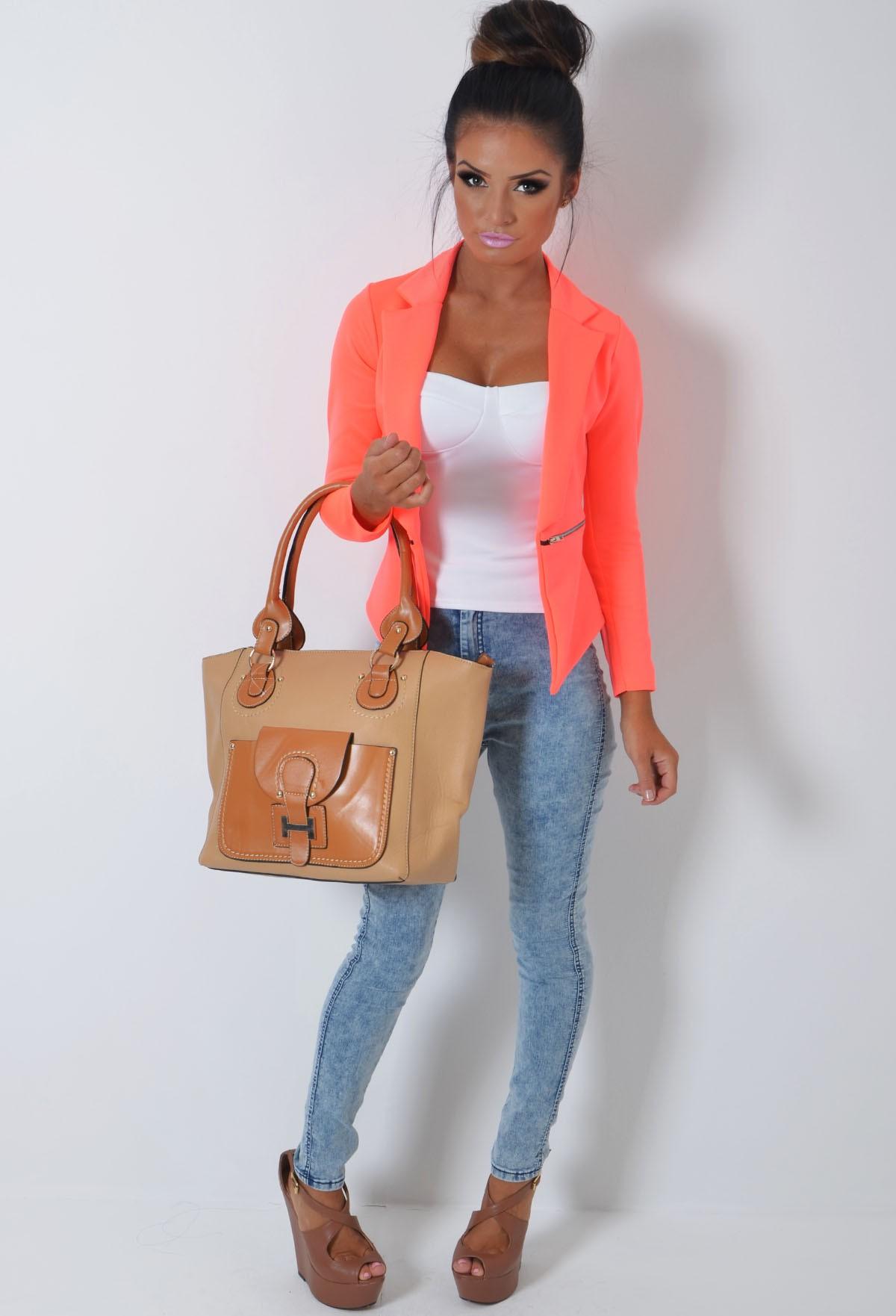 Neon Orange Fitted Zip Blazer Jacket | Pink Boutique