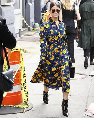 dress tumblr floral floral dress midi dress long sleeves long sleeve dress boots black boots ankle boots sunglasses