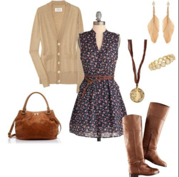 dress sweater floral necklace brown boots brown bag