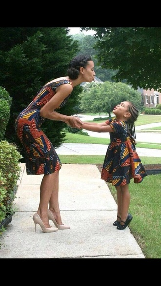 mother daughter matching dress retro dress 90s style african print kids fashion mother and child