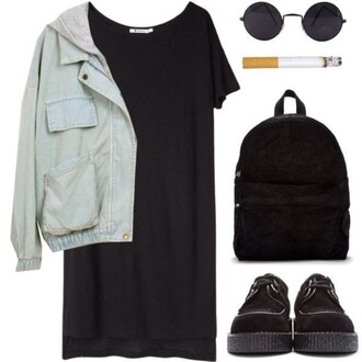 dress glasses denim jacket sneakers backpack clippers black dress bag sunglasses polyvore denim jacket grunge soft grunge vintage 90s style straight sportswear look blog blogger little black dress black tunic dress black t-shirt dress blouse shoes