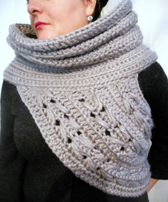 Kat cowl wool blend scarf shawl hunter by thegreatmittenandco