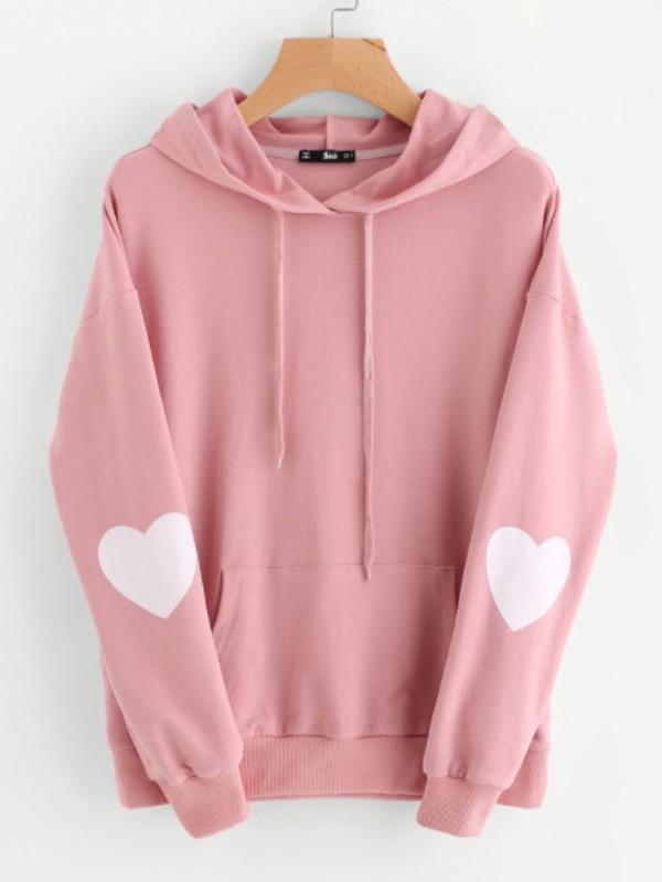 jacket girly pink hoodie sweater jumper heart