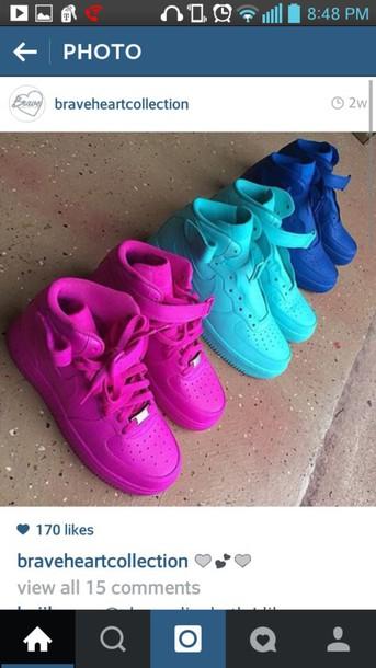 shoes nike nike air nike air force 1 high top blue