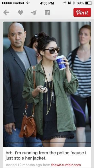 jacket army green vanessa hudgens boho