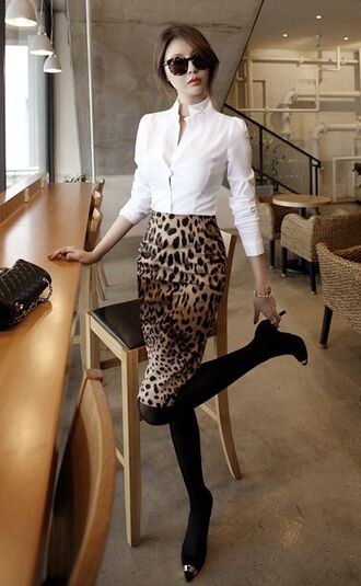 skirt leopard print pencil skirt animal print black tights pumps white blouse white button up cheetah print skirt classy