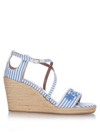 wedges blue shoes