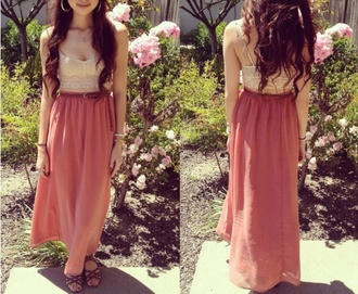 shoes beautiful maxi skirt shirt tangerine two-piece
