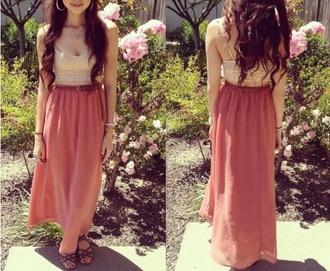 skirt beautiful maxi tangerine two-piece shirt shoes