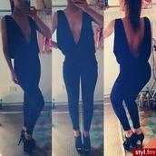 blouse,black shirt,deep v,open back shirt,sexy open back,clothes,jumpsuit,black,black jumpsuit,low back,low cut,tight waist