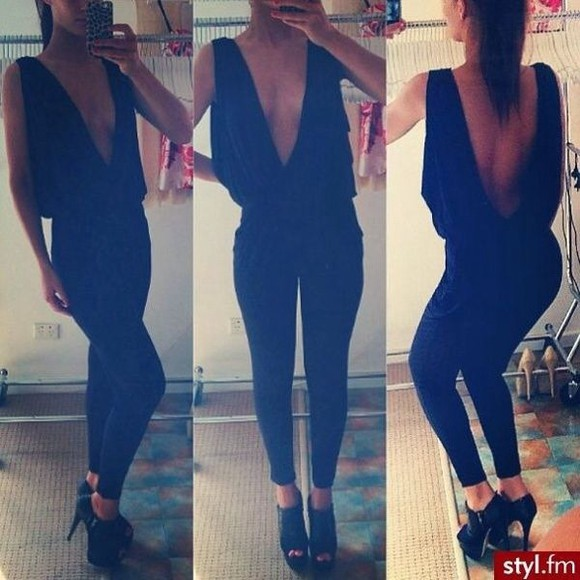 blouse black shirt deep v open back sexy open back clothes