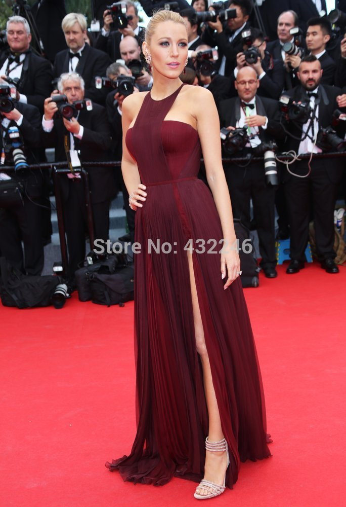 Aliexpress.com : buy scd037 2014 sexy split backless gossip girl blake lively chiffon celebrtiy dress red carpet from reliable dress shirt neck size suppliers on gmbridal