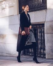 dress,midi dress,checkered dress,boots,black boots,high heels boots,clutch,coat,black coat,earrings