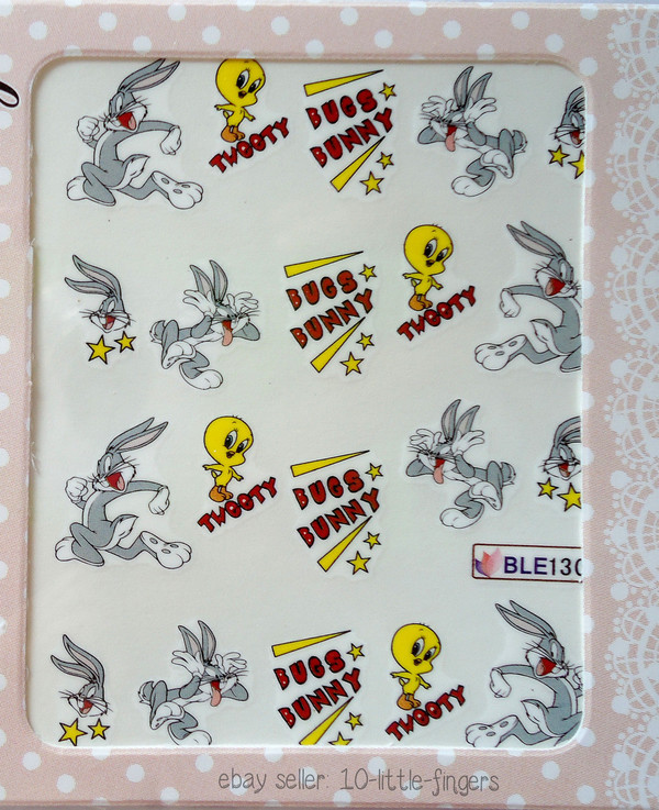 nail accessories decoration nails nails art stickers decals manicure pedicute bugs bunny tweety yellow grey silver diy