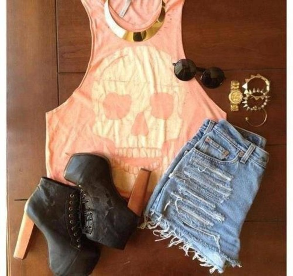 tank top summer shorts shoes sunglasses jewels
