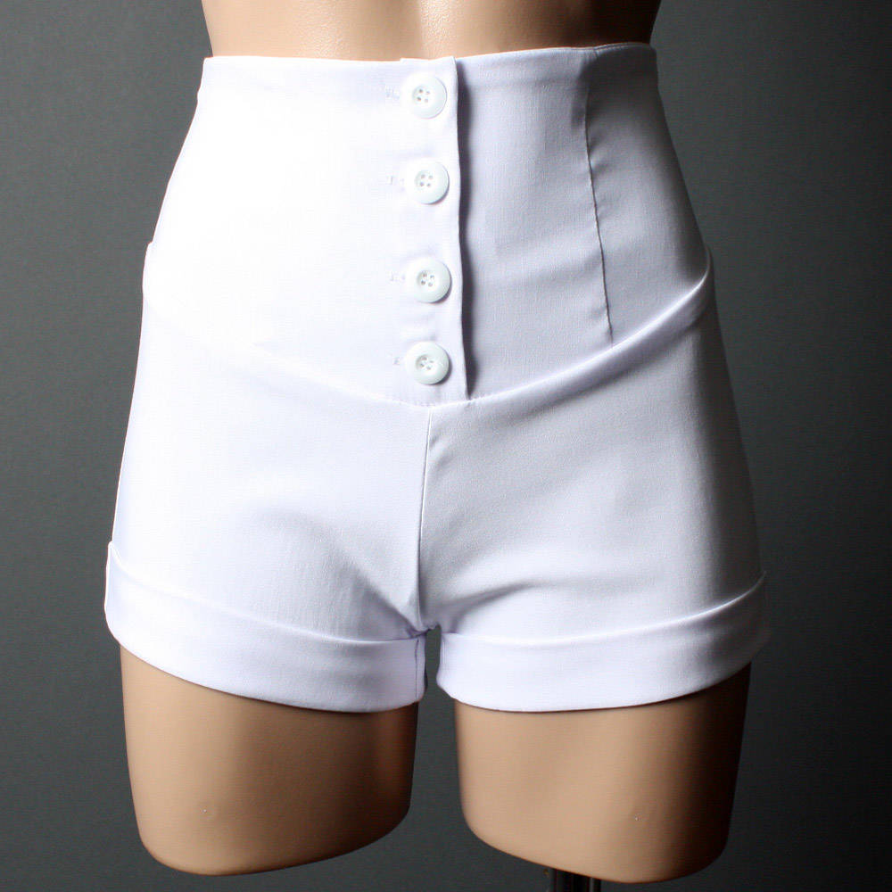 Womens White High Waisted Shorts