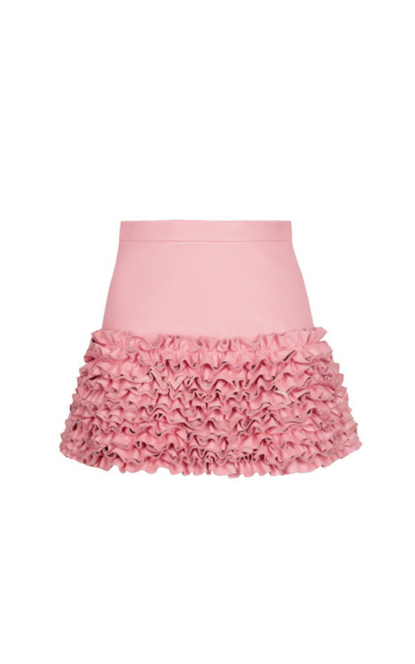 skirt ruched pink leather basque ruban