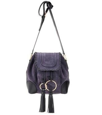 bag bucket bag suede purple