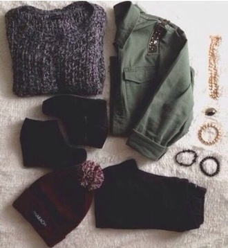 sweater black army green grey shirt shoes jewels hat
