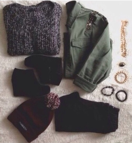 shirt army green shoes sweater black grey jewels hat