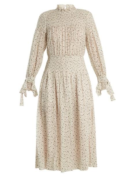 Rebecca Taylor dress cotton print silk cream