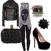 jacket,t-shirt,band t-shirt,jeans,shoes,leggings,acessories,tank top