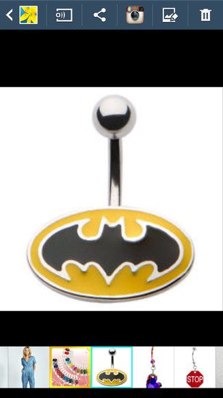 batman black yellow jewels sign bellybutton ring