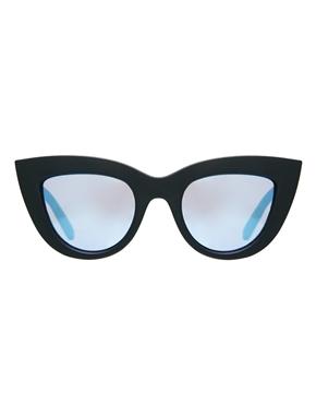 ASOS | ASOS – Matte Katzenaugen-Sonnenbrille mit blau getönten Gläsern und flacher Oberseite bei ASOS