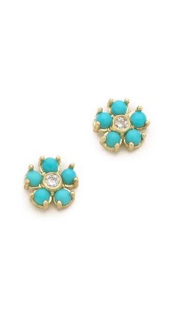 Jennifer Meyer Jewelry Turquoise Flower Diamond Stud Earrings - Gold/Turquoise